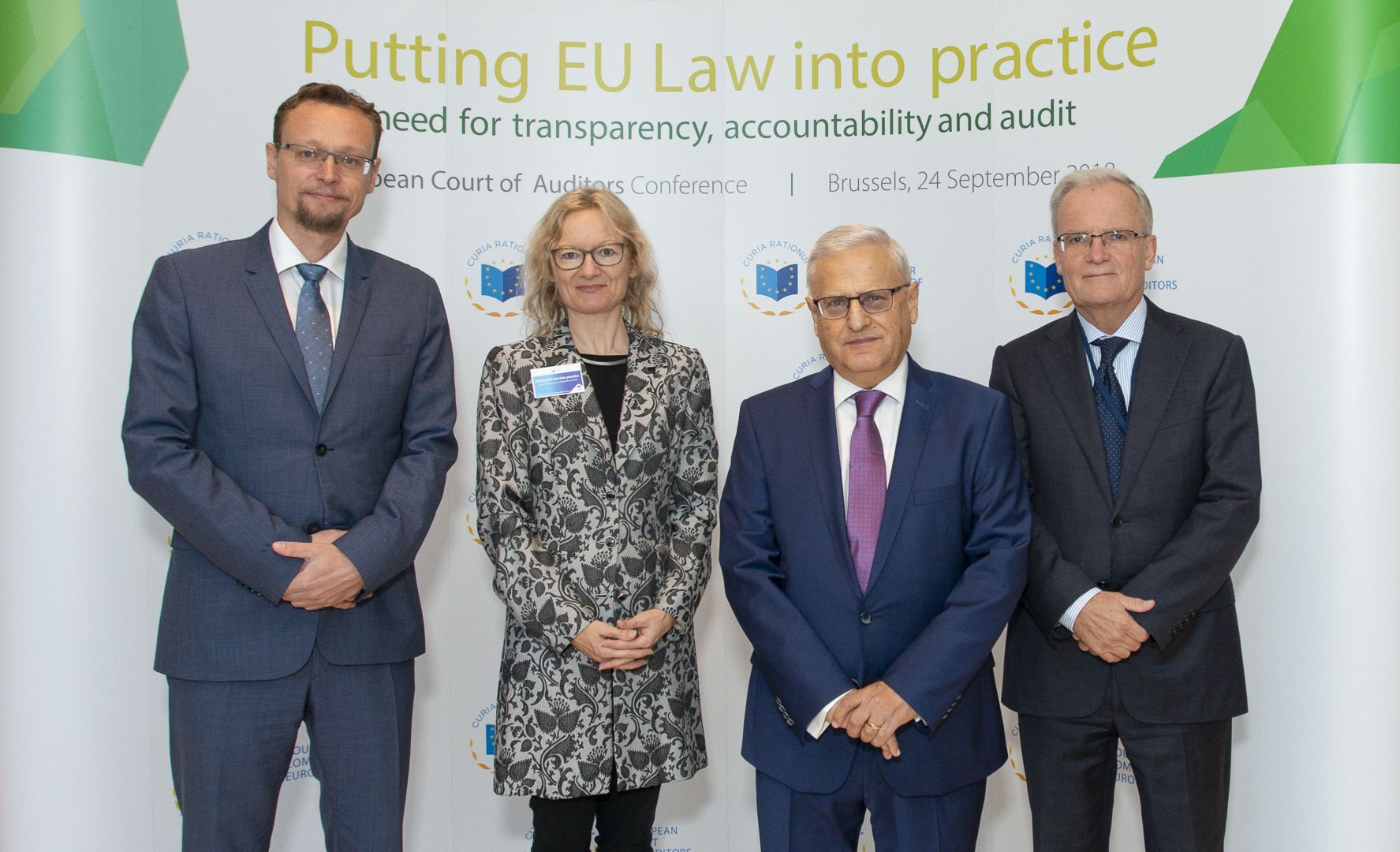 PUTTING EU LAW INTO PRACTICE CONFERENCE - Jan M. Passer, Judge, CJEU; Gerda Falkner, Professor of Political Science & Director, Vienna University; Leo Brincat, Reporting Member, ECA; Bernd Dittmann, Member, EESC.